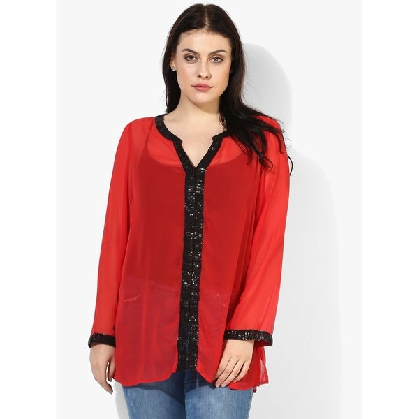 Qurvii Georgette sequence shirt