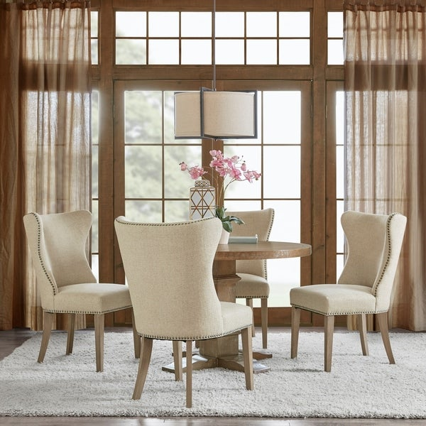 "Madison Park Keeble Cream Dining Side Chair (Set of 2) - 25.25""w x 25.25""d x 39""h - 25.25""w x 25.25""d x 39""h. Opens flyout."