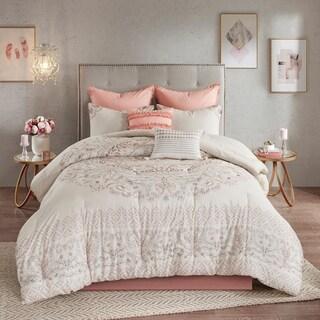 Madison Park Evelyn Blush 8 Piece Cotton Printed Reversible Comforter Set