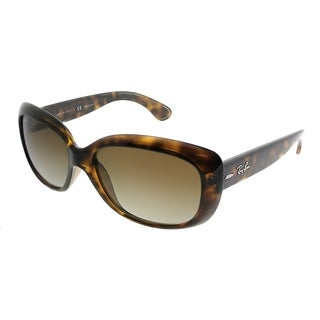 Ray-Ban Rectangle RB 4101 Jackie Ohh 710/T5 Women Light Havana Frame Brown Gradient Polarized Lens Sunglasses