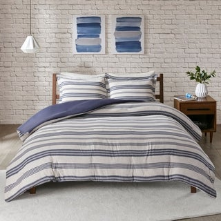 Urban Habitat Mason Stripe Print Ultra Soft Cotton Blend Jersey Knit Duvet Cover Set