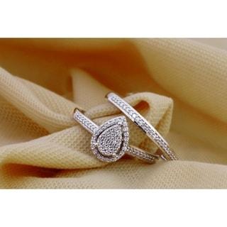 De Couer IGI Certified  S925 Steling Silver 1/4 ct TDW Dimaond Cluster Bridal Set