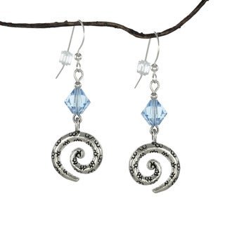Handmade Jewelry by Dawn Blue Crystal Bicone Pewter Swirl Earrings (USA)