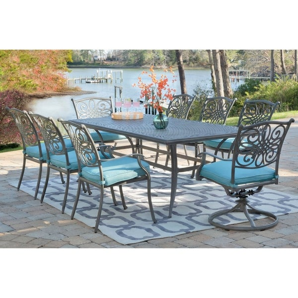 Hanover Traditions 9-Piece Dining Set in Blue with 6 Chairs, 2 Swivel Rockers and Dining Table in a Gray Finish