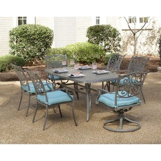 Hanover Traditions 7-Piece Dining Set in Blue with 4 Chairs, 2 Swivel Rockers and Dining Table in a Gray Finish
