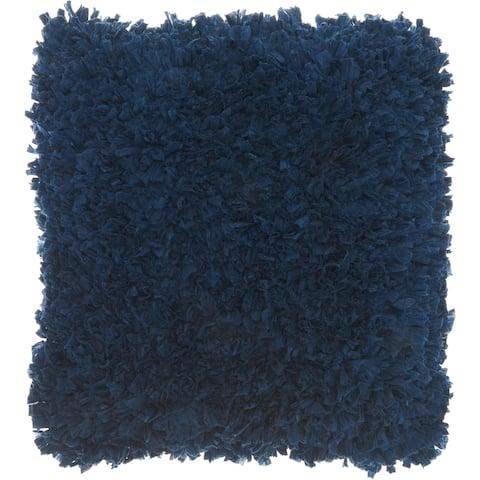 Mina Victory Navy Blue Short Cut Shag Throw Pillow (17-Inch X 17-Inch)