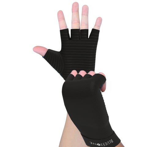 Copper Infused Compression Gloves- Odor Control Unisex Compress Support Gloves Bluestone