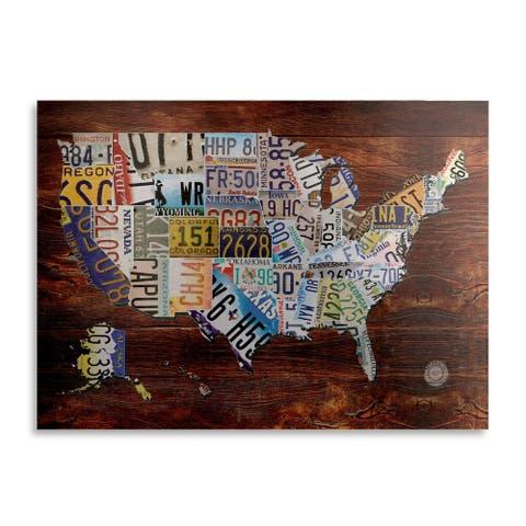 Masters Fine Art 'Usa License Plate' Floating Brushed Aluminum Art