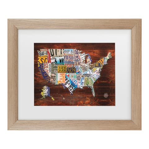 Masters Fine Art 'Usa License Plate Map On Wood' Matted Framed Art