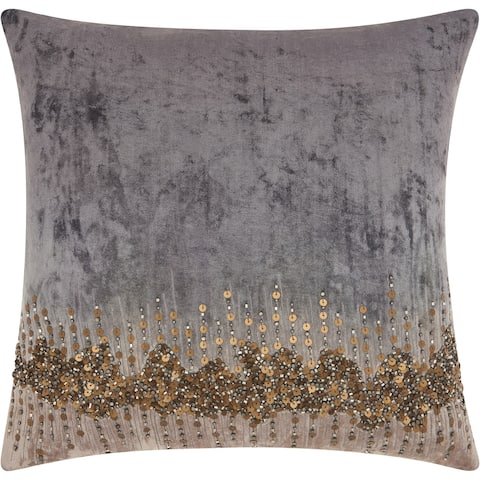 Mina Victory Gold Beaded Stargaze Grey Throw Pillow (18-Inch X 18-Inch)