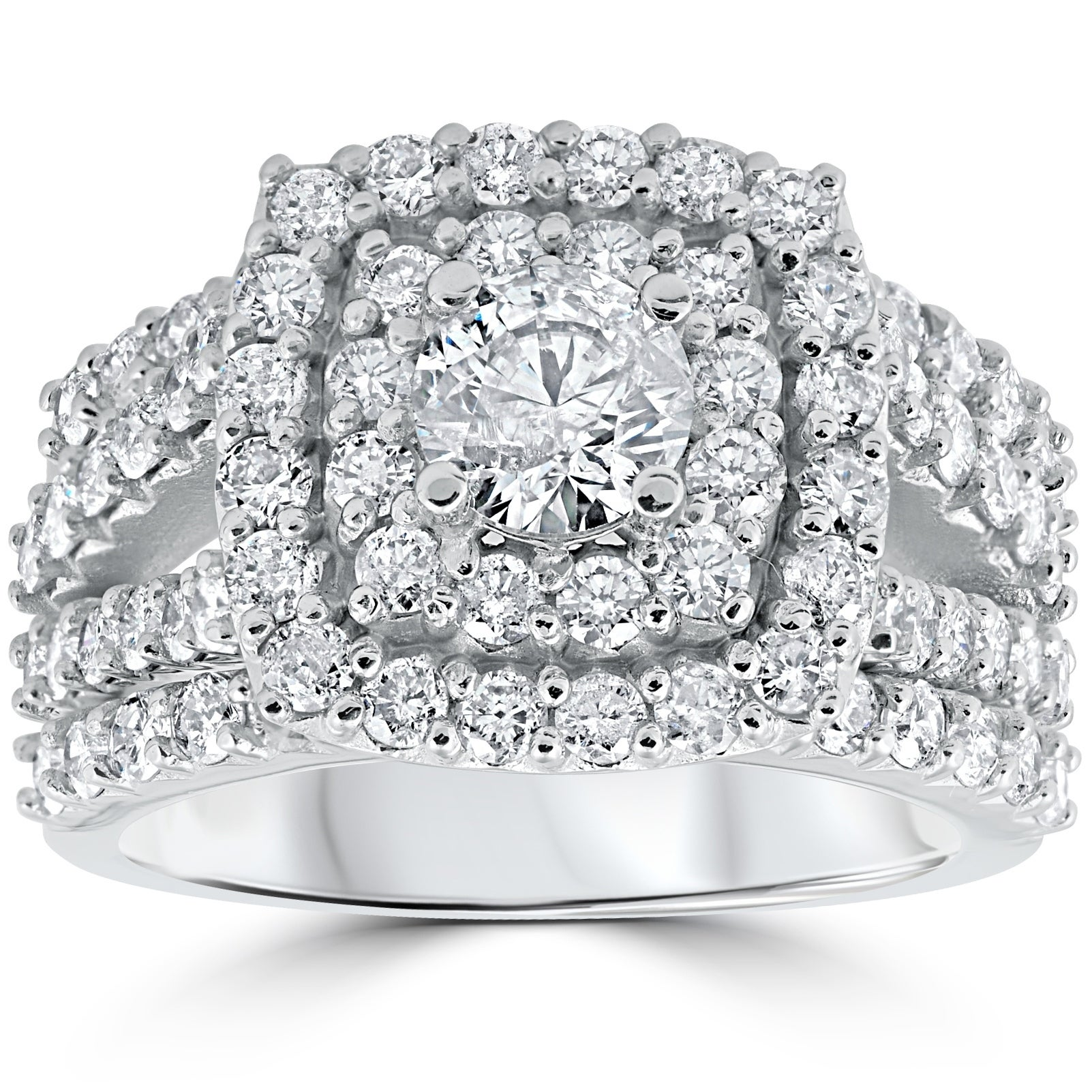 It is just a picture of Pompeii388 388k White Gold 388 TDW Cushion Halo Diamond Engagement Ring Trio Matching Guard Wedding Band Set