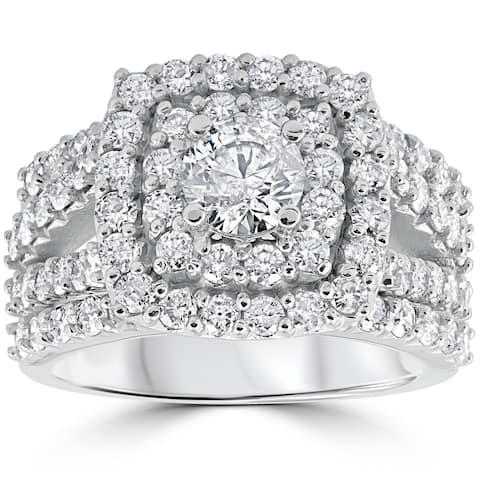 Pompeii3 14k White Gold 3ct TDW Diamond Cushion Halo Bridal Set