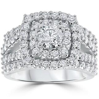 Pompeii3 14k White Gold 3 TDW Cushion Halo Diamond Engagement Ring Trio Matching Guard Wedding Band Set