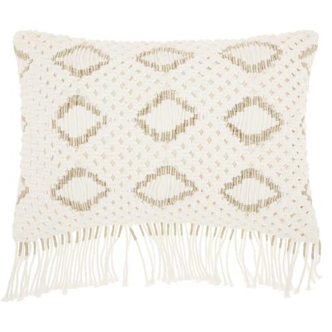 Mina Victory White Macrame Diamonds Throw Pillow (12-Inch X 20-Inch)