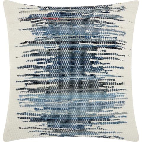 Mina Victory Woven Ombre Denim Blue Throw Pillow (20-Inch X 20-Inch)