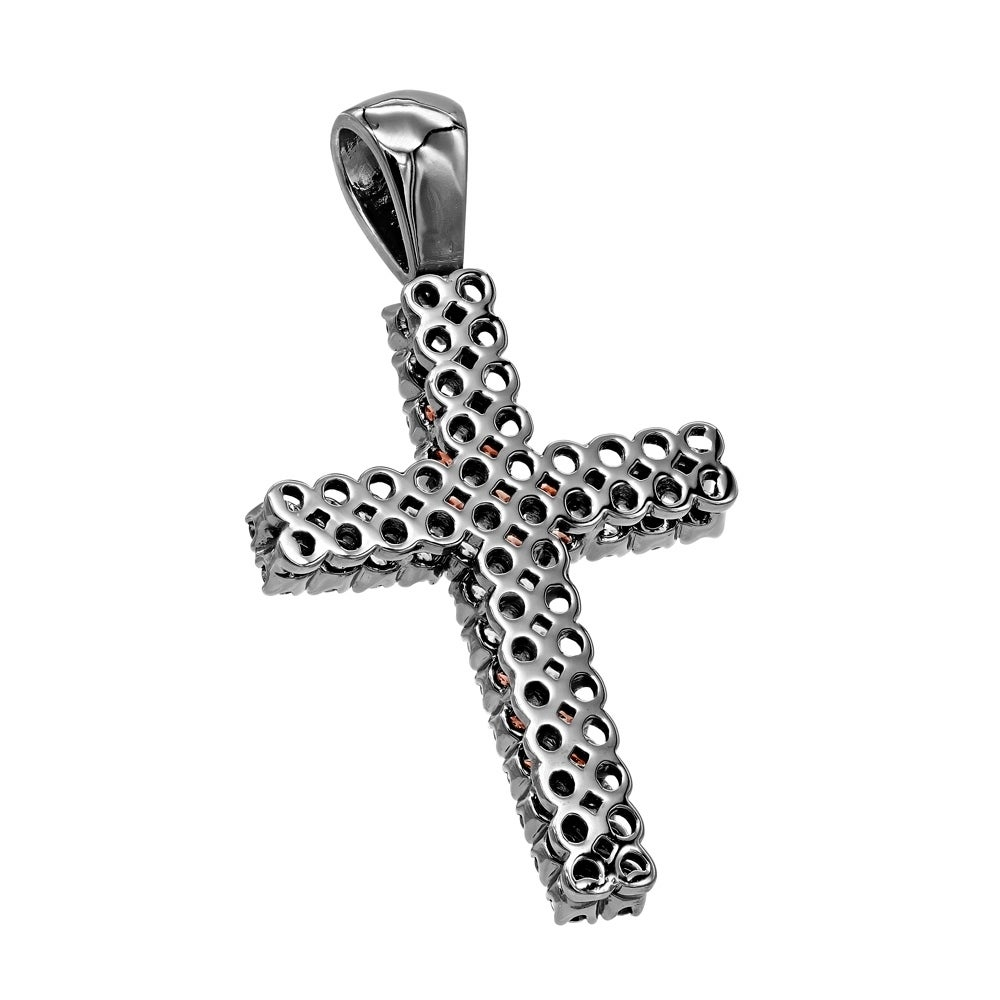 Sterling Silver Rhodium Plated Garnet /& Diamond Pendant Color H-I, Clarity SI2-I1