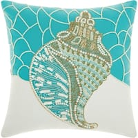 Mina Victory Beaded Conch Shell Turquoise Outdoor Throw Pillow (16-Inch X 16-Inch)