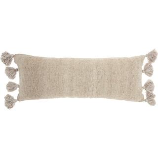 Mina Victory Tassel Border Beige Throw Pillow (13-Inch X 33-Inch)