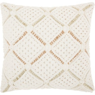 Mina Victory Macrame Diamonds White Throw Pillow (20-Inch X 20-Inch)