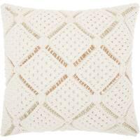 Mina Victory Macrame Diamonds White Throw Pillow (20-Inch X 20-Inch)