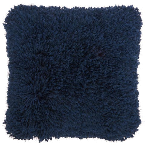 Mina Victory Navy Blue Yarn Shag Throw Pillow (20-Inch X 20-Inch)