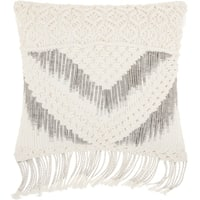 Mina Victory White Macrame Chevron Tassel Throw Pillow (20-Inch X 20-Inch)