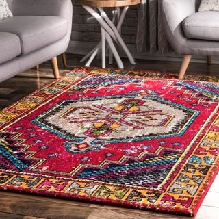 nuLOOM Red Bohemian Hippie Chic Cosmopolitan Faded Border Area Rug
