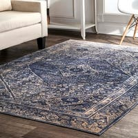 nuLOOM BLue Lavish Persian Medallion Antique Ombre Border Area Rug - 9' x 12'