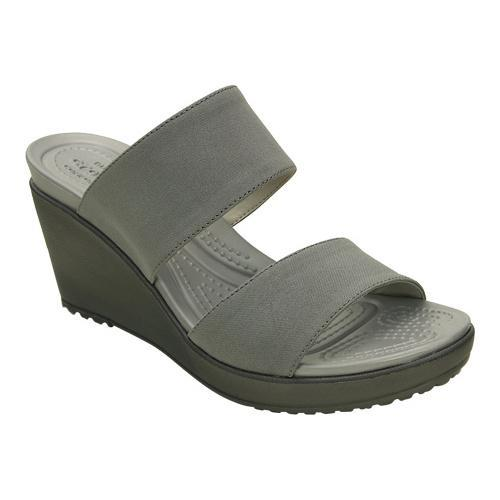 73a1fc988131 Shop Women s Crocs Leigh II 2-strap Wedge Sandal Silver Graphite - Free  Shipping On Orders Over  45 - Overstock - 18798705
