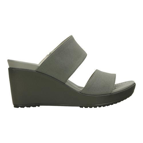 d4f95023ca ... Thumbnail Women's Crocs Leigh II 2-strap Wedge Sandal Silver/ ...
