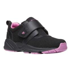 Women's Propet Stability X Hook and Loop Sneaker Black/Berry Mesh