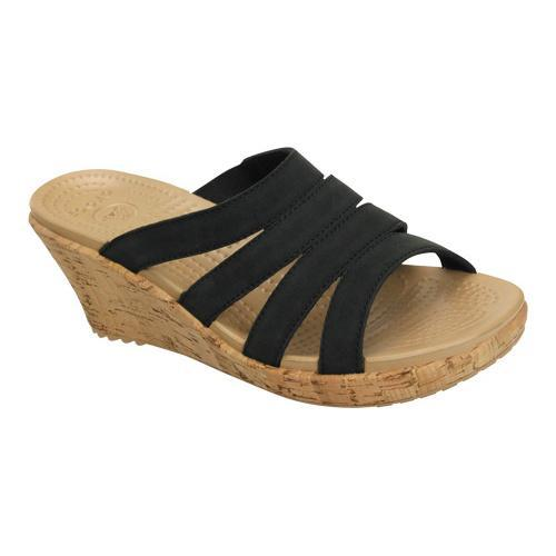 5e71f0f5517a Shop Women s Crocs A-Leigh Cork Wrap Wedge Black Gold - Free Shipping Today  - Overstock - 18818446