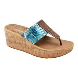 Women's Rockport Lanea Thong Sandal Teal Floral Leather