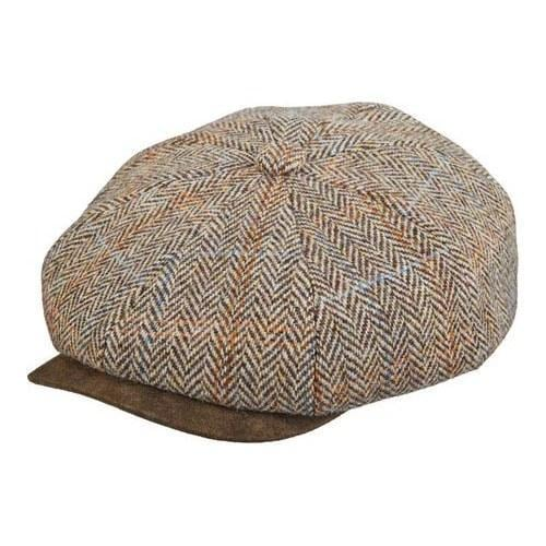 6ff9d064000 Shop Men s Stetson STW280 Harris Tweed Newsboy Cap Brown - Free Shipping  Today - Overstock - 18819771