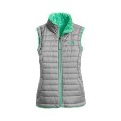 Girls' The North Face Reversible Mossbud Swirl Vest Metallic Silver/Bermuda Green