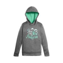Girls' The North Face Surgent Pullover Hoodie TNF Medium Grey Heather/Bermuda Green Heather