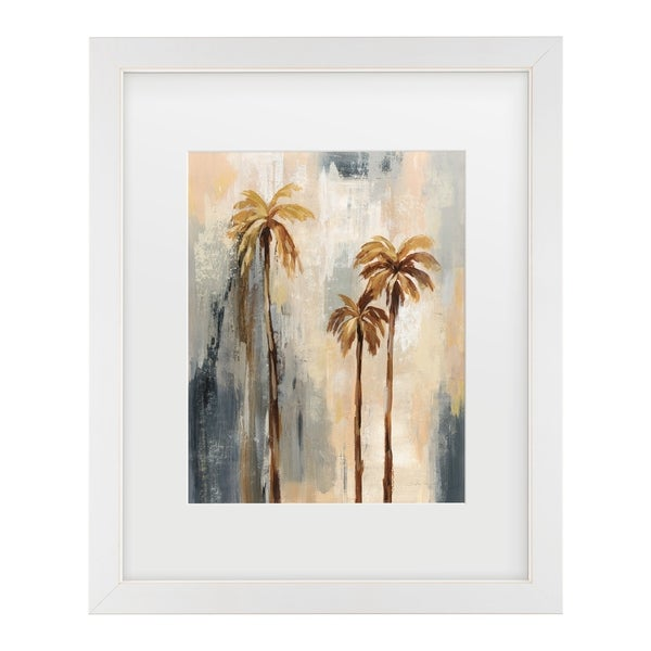 Silvia Vassileva 'Palm Trees I' Matted Framed Art