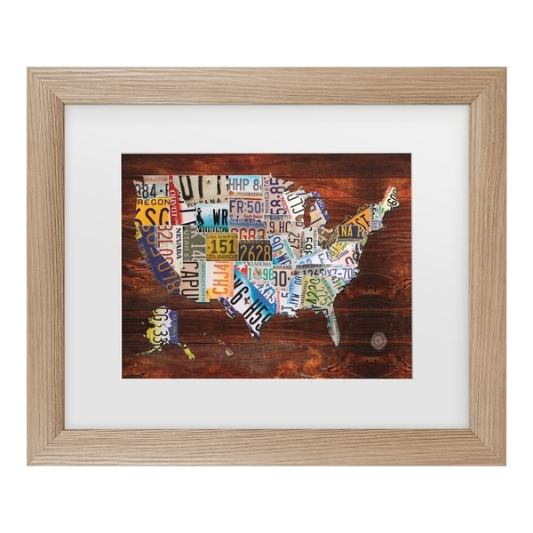 Masters Fine Art 'Usa License Plate Map On Wood' Matted Framed Art. Opens flyout.