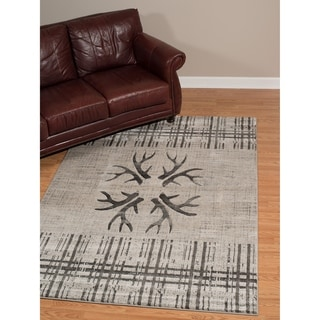 """Westfield Home Plutarch Made True Nikos Hand Carved Silver Area Rug - 7'10"""" x 10'6"""""""