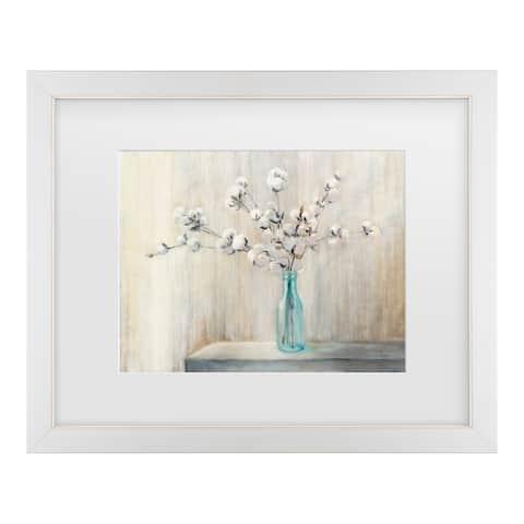 Julia Purinton 'Cotton Bouquet' Matted Framed Art