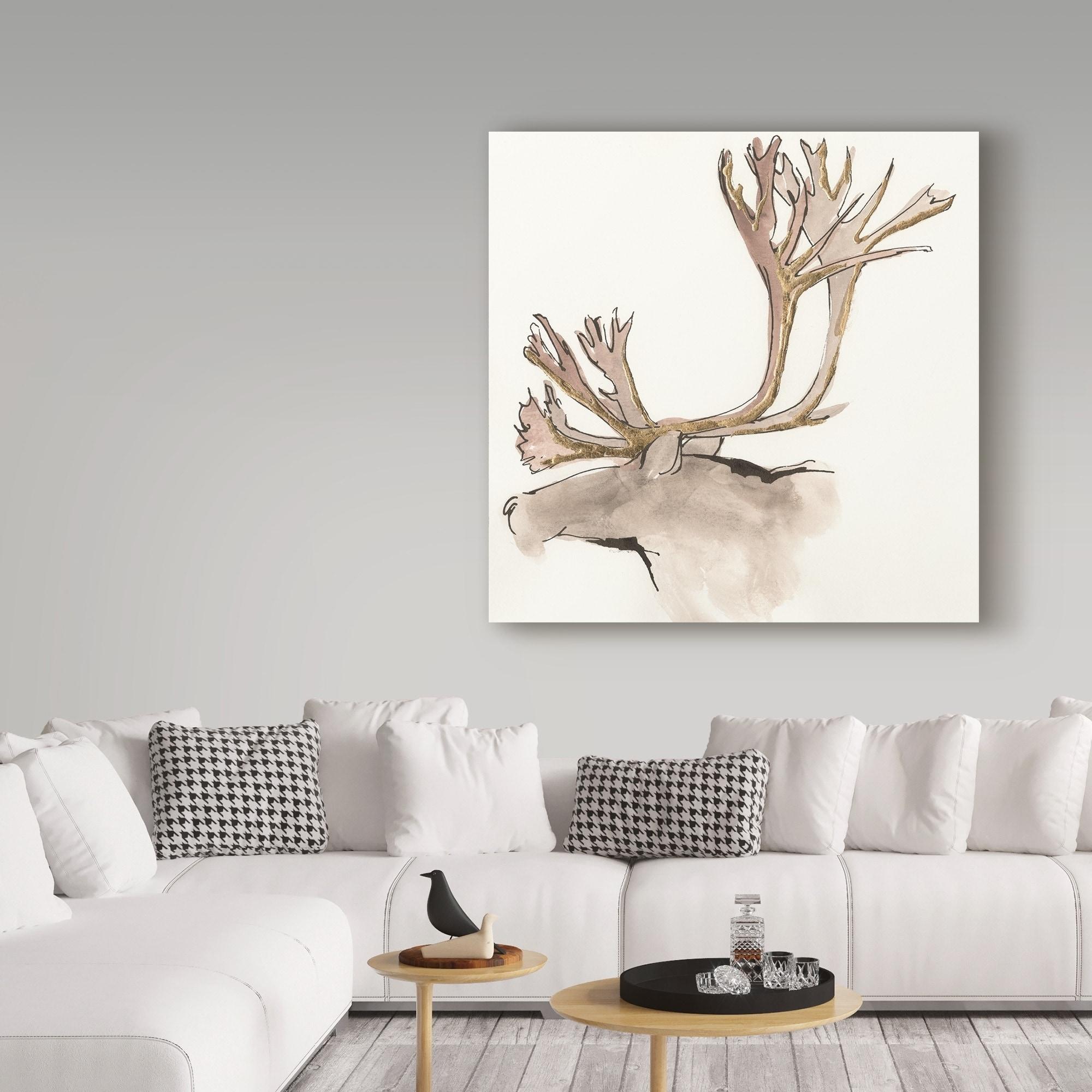 Gilded Caribou Canvas Artwork 30 x 30 Global Gallery Chris Paschke