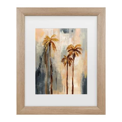 Silvia Vassileva 'Palm Trees I' Matted Framed Art