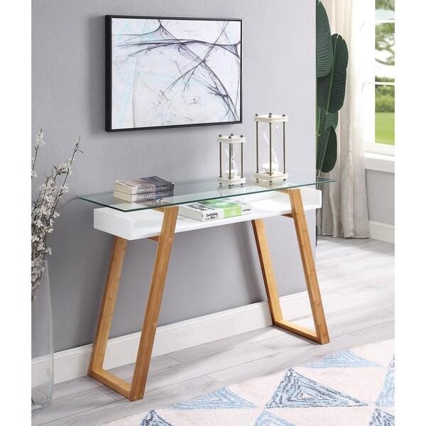 Strick & Bolton Luella Glossy White Wood/ Glass Console Table