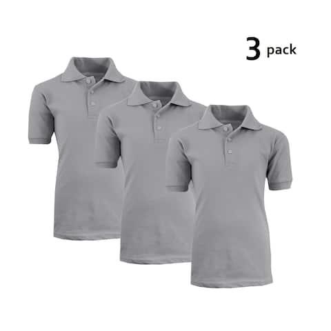 Galaxy By Harvic Boy's Heather Grey Short Sleeve School Uniform Polo Shirts - 3 PACK - Sizes 4-20