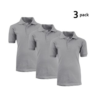 Galaxy By Harvic Boy's Heather Grey Short Sleeve School Uniform Polo Shirts - 3 PACK - Sizes 4-20