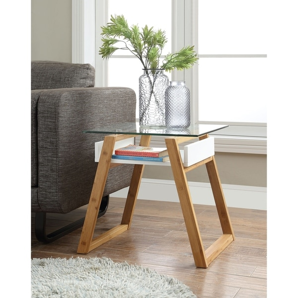 Strick & Bolton Luella White Wood Glass-topped End Table