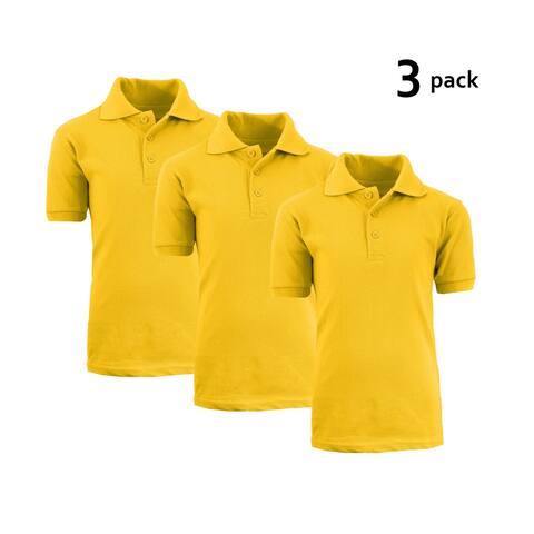 Galaxy by Harvic Boy's Gold Short Sleeve School Uniform Polo Shirts - 3 PACK - Sizes 4-20