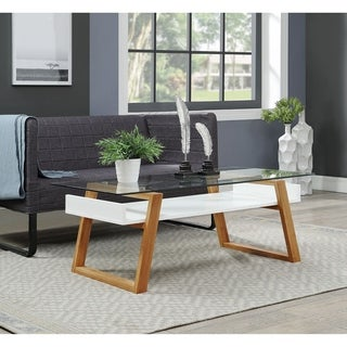 Strick & Bolton Luella Two-tone Bamboo and Glass Coffee Table
