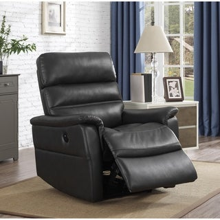 Tyson Grey Faux Leather Power Recliner Chair