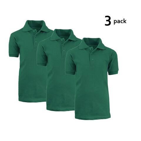 Galaxy By Harvic Boy's Hunter Green Short Sleeve School Uniform Polo Shirts - 3 PACK - Sizes 4-20
